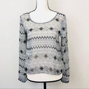 Lush sheer geometric blouse long sleeves size XS